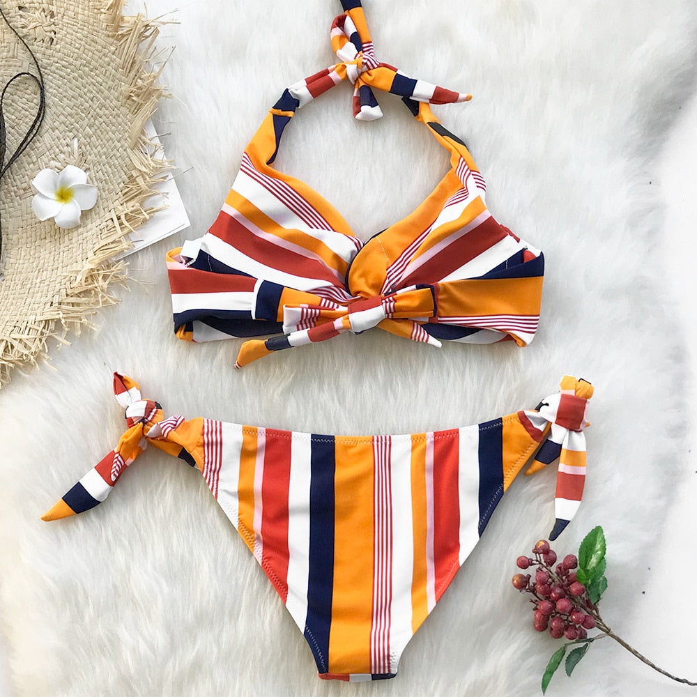 Womens Navy and Orange Twist Halter Bikini Set