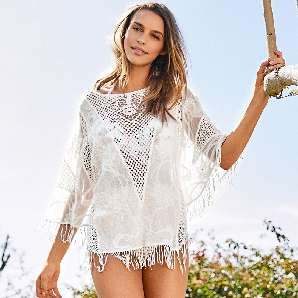 White Crochet  Sleeve Top Cover Up - Bikini Basix