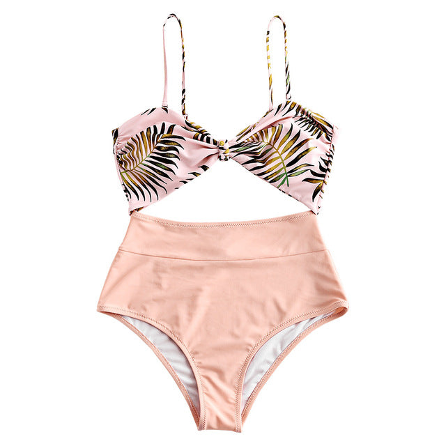 High Waisted Summer Leaf Print Swimsuit - Bikini Basix