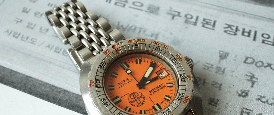 DOXA SUB 300T PROFESSIONAL  'ORANGE TIMER'  LUEL MAGAZINE  SEPT.  2015