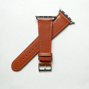 CHESTNUT BRIDLE LEATHER HANDMADE APPLE WATCH STRAP ALL GENERATIONS