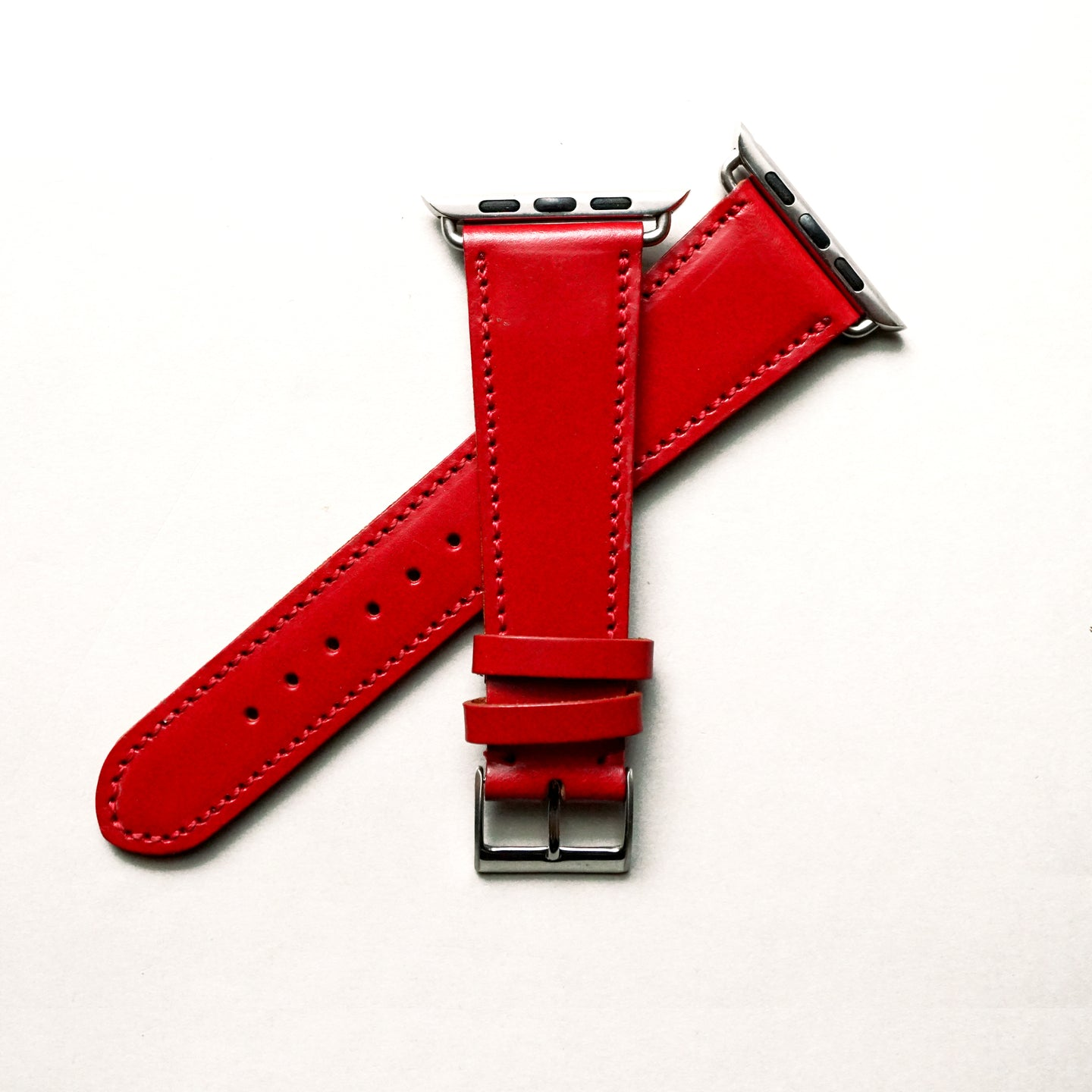 CHERRY RED BRIDLE LEATHER HANDMADE APPLE WATCH STRAP ALL GENERATIONS