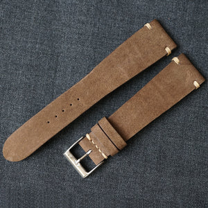MOCHA NUBUCK CUSTOM MADE STRAP - SIDE STITCHED