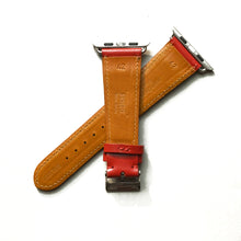 Load image into Gallery viewer, CHERRY RED BRIDLE LEATHER HANDMADE APPLE WATCH STRAP ALL GENERATIONS