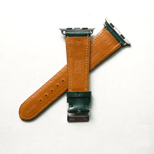 RACING GREEN BRIDLE LEATHER HANDMADE APPLE WATCH STRAP ALL GENERATIONS