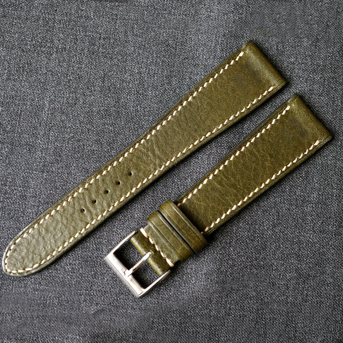 OLIVE GREEN BOX CALF CUSTOM MADE STRAP