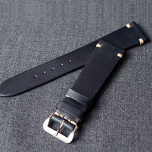 Load image into Gallery viewer, DARK BLUE HORWEEN SHELL CORDOVAN CUSTOM MADE STRAP