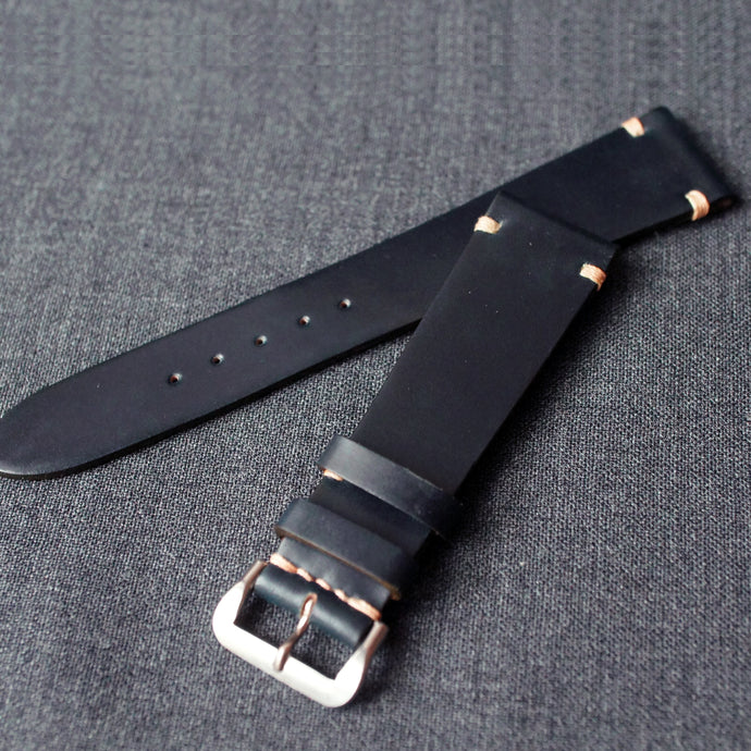DARK BLUE HORWEEN SHELL CORDOVAN CUSTOM MADE STRAP