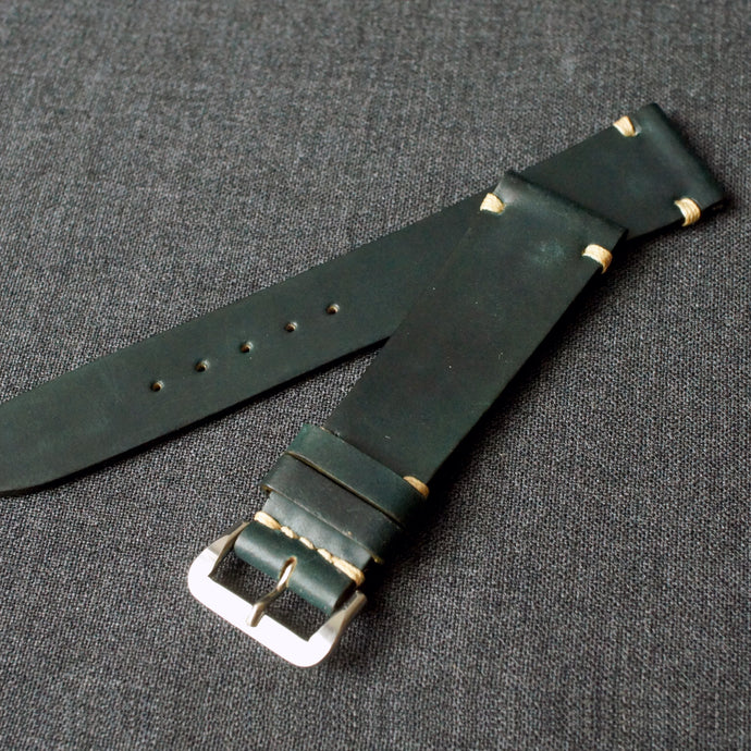 DARK GREEN HORWEEN SHELL CORDOVAN CUSTOM MADE STRAP