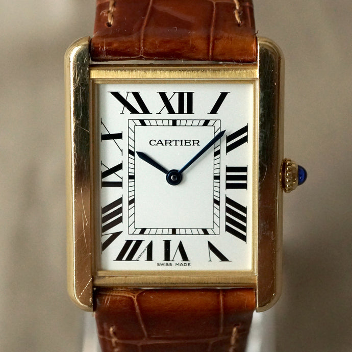 2013 CARTIER TANK SOLO MEN'S LARGE 18K YELLOW GOLD / STEEL BACK