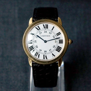 2017 CARTIER RONDE SOLO MEN'S 36MM 18K YELLOW GOLD / STEEL BACK