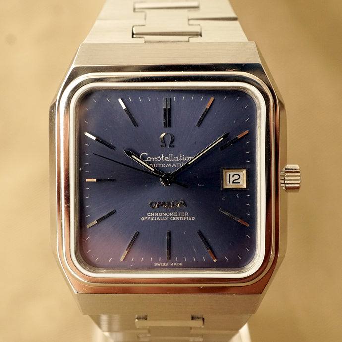 1975 OMEGA CONSTELLATION JUMBO TV 368.0855 BLUE AUTOMATIC COMPLETE SERVICED