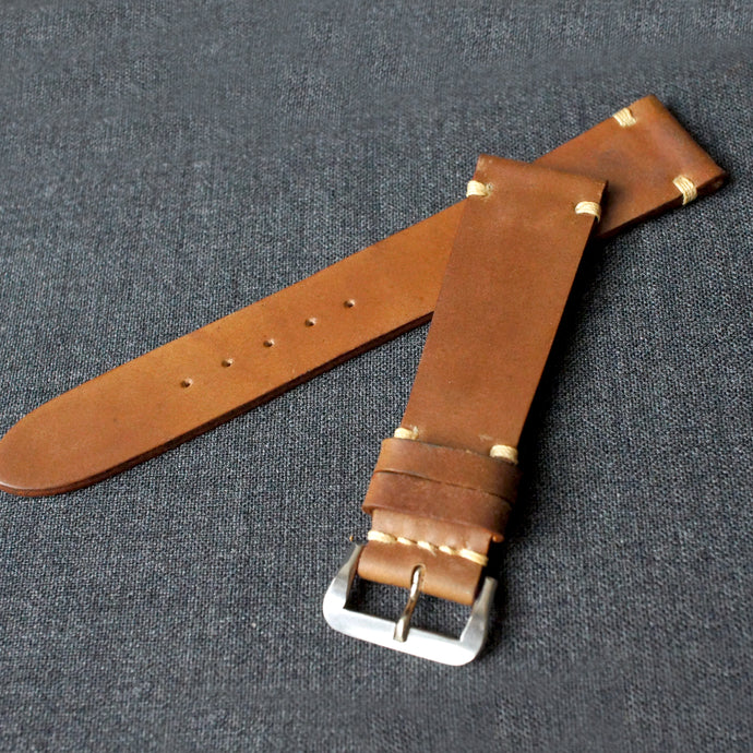 SADDLE TAN NATURAL HORWEEN SHELL CORDOVAN CUSTOM MADE STRAP