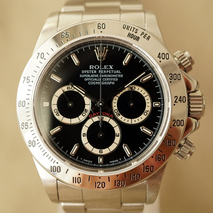 1997 ROLEX COSMOGRAPH BLACK DAYTONA REF.16520 / RSC SERVICED CARD