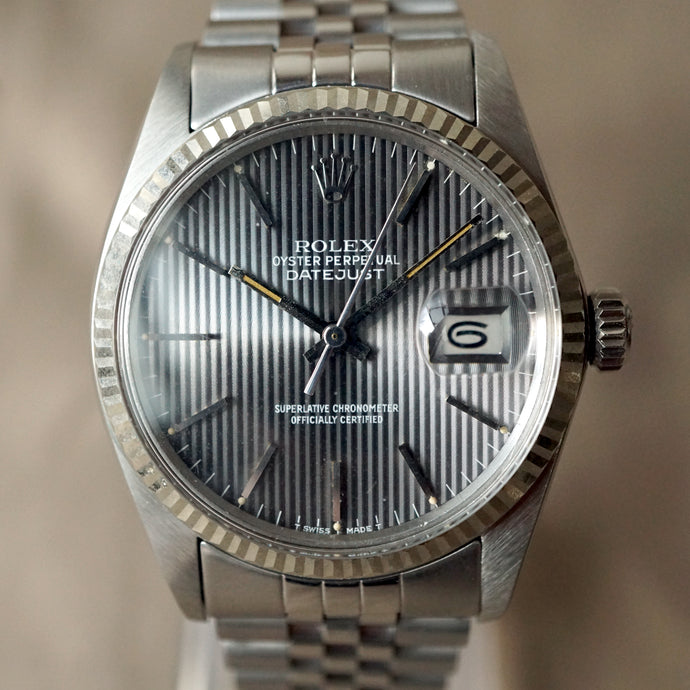 1984 ROLEX DATEJUST REF.16014 18K WG FLUTED BEZEL / STEEL WATCH