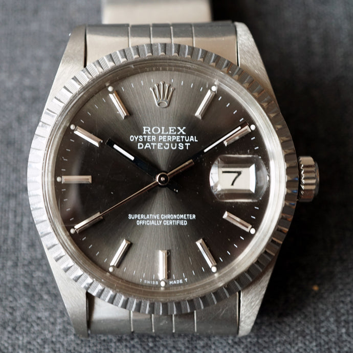 1979 ROLEX DATEJUST REF.16030 ENGINE TURNED STEEL WATCH