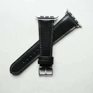 BLACK BRIDLE LEATHER HANDMADE APPLE WATCH STRAP ALL GENERATIONS
