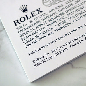 ROLEX DATEJUST OWNERS BOOKLET SET FOR 2015 TO 2017
