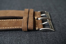Load image into Gallery viewer, MOCHA NUBUCK CUSTOM MADE STRAP - FULL STITCHED