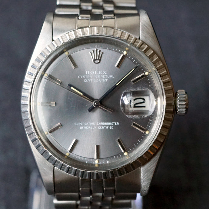 1974 ROLEX GRAY DATEJUST REF.1603 ENGINE TURNED STEEL WATCH