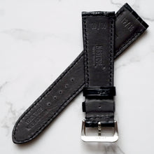 Load image into Gallery viewer, MATT BLACK CUSTOM MADE CROCODILE STRAP