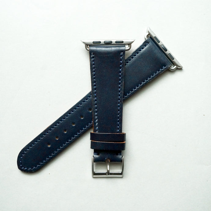 NAVY BRIDLE LEATHER HANDMADE APPLE WATCH STRAP ALL GENERATIONS