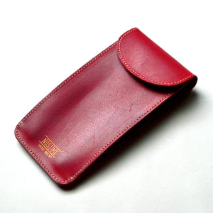 ENGLAND BRIDLE LEATHER SINGLE WATCH POUCH - ROYAL RED