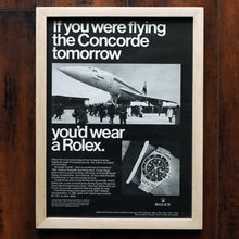 Load image into Gallery viewer, 1960s ROLEX GMT-MASTER 1675 VINTAGE AD PRINT  WOOD FRAME