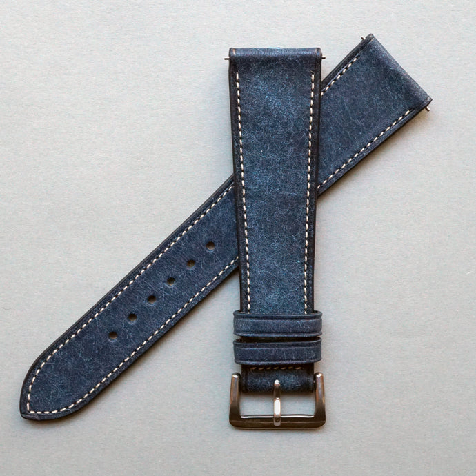 DENIM BLUE DISTRESSED CALF STANDARD STRAP
