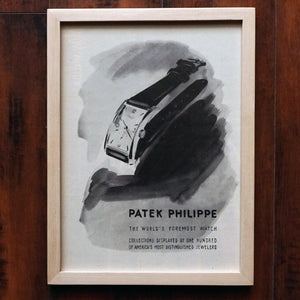 "1950s PATEK PHILIPPE REF.1593 ""HOUR GLASS"" VINTAGE AD PRINT WOOD FRAME"