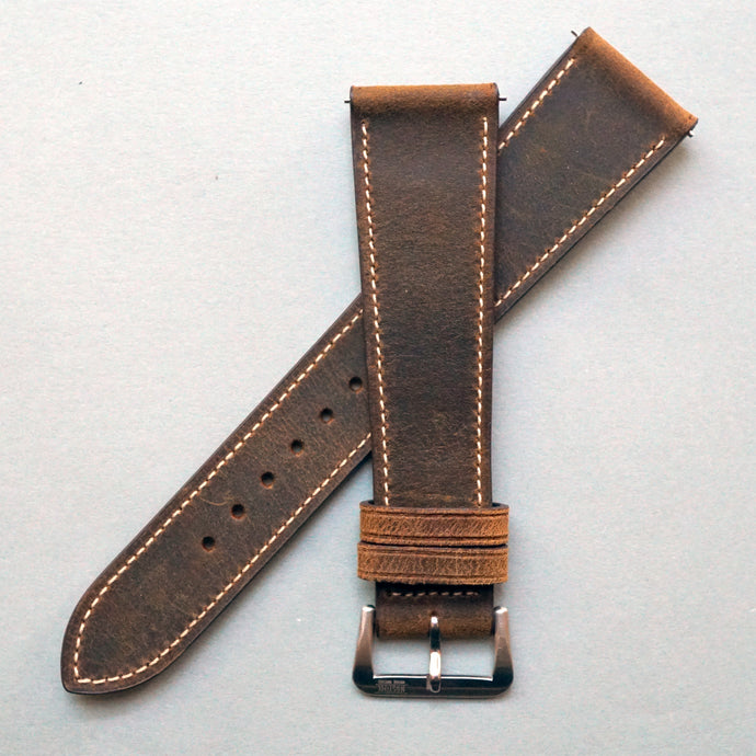 TOBACCO BROWN DISTRESSED CALF STANDARD STRAP