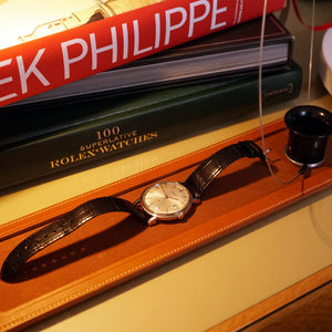 GOLD TAN LEATHER SINGLE WATCH TRAY