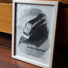 "Load image into Gallery viewer, 1950s PATEK PHILIPPE REF.1593 ""HOUR GLASS"" VINTAGE AD PRINT WOOD FRAME"