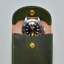 Load image into Gallery viewer, ENGLAND BRIDLE LEATHER SINGLE WATCH POUCH - RACING GREEN