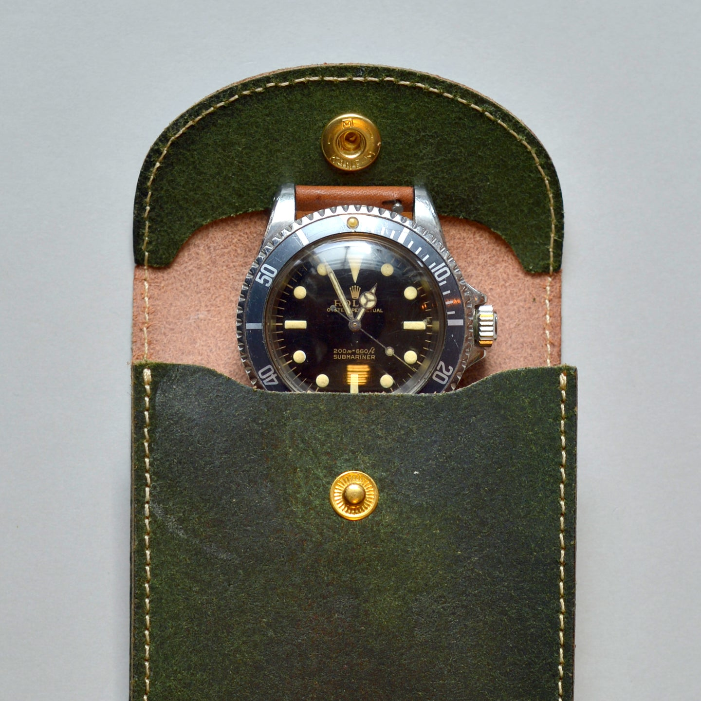ENGLAND BRIDLE LEATHER SINGLE WATCH POUCH - RACING GREEN