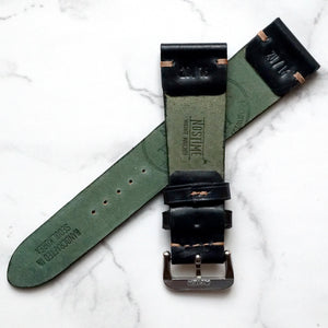 BLACK HORWEEN SHELL CORDOVAN CUSTOM MADE STRAP