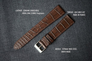DARK BROWN CUSTOM MADE CROCODILE STRAP