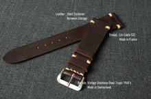 Load image into Gallery viewer, #8 BURGUNDY HORWEEN SHELL CORDOVAN CUSTOM MADE STRAP