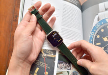 Load image into Gallery viewer, RACING GREEN BRIDLE LEATHER HANDMADE APPLE WATCH STRAP ALL GENERATIONS