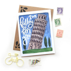 Travel Pun Leaning Tower Card