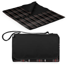 "Load image into Gallery viewer, Blanket Tote 59"" x 51"" black tartan"