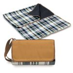 "Load image into Gallery viewer, Picnic, Blanket Tote 59"" x 51"", English plaid, brown flap"