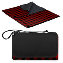 "Load image into Gallery viewer, Picnic, Blanket Tote 51""x59"" Red/Black Buffalo Plaid"