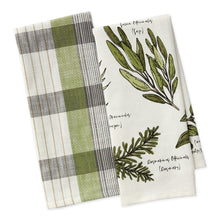 Load image into Gallery viewer, Dishtowel, Culinary Herb Guide set of 2