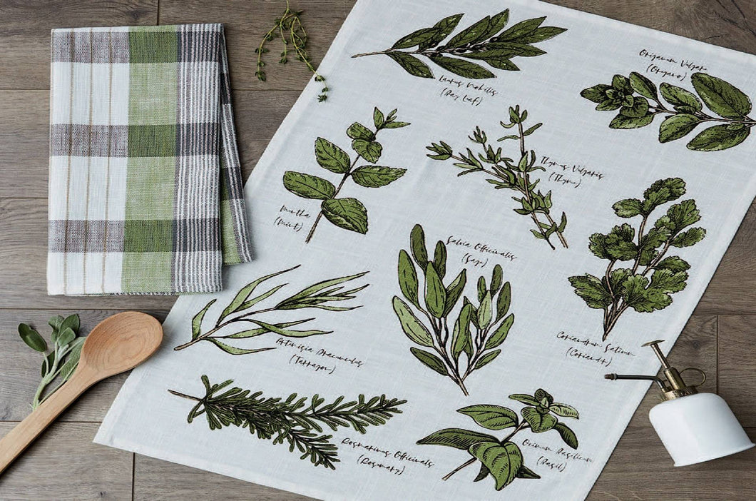 Dishtowel, Culinary Herb Guide set of 2
