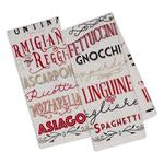 Italiano Words Printed Dishtowels, set of 2