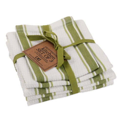 Parsley Green Classic Stripe Heavyweight Kitchen Towel set of 3