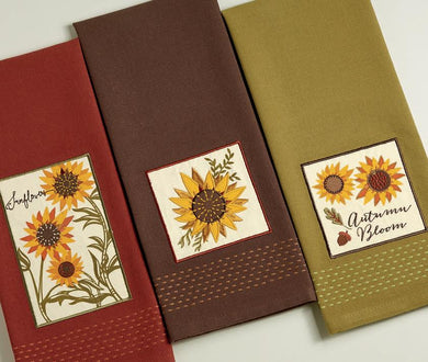 Dish towel, Rustic Sunflower Set of 3