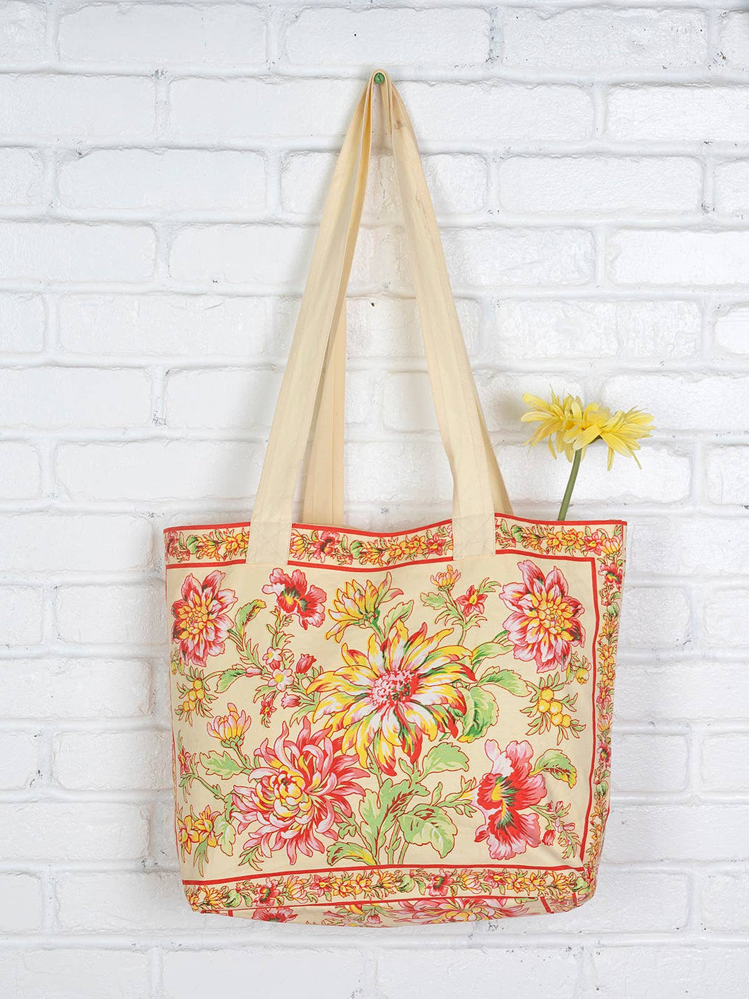 Dahlia Days Market Bag-Yellow
