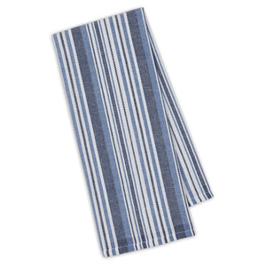 Dish Towel, Marine Blue Herringbone Stripe
